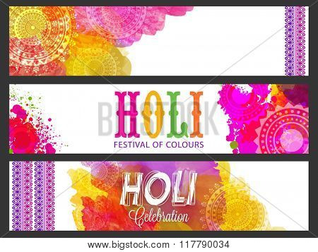 Colourful floral design decorated website header or banner set for Indian Festival of Colours, Happy Holi celebration.