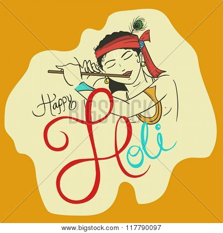 Hindu mythology Lord Krishna playing flute on occasion of Indian fastival of colors, Happy Holi celebration.