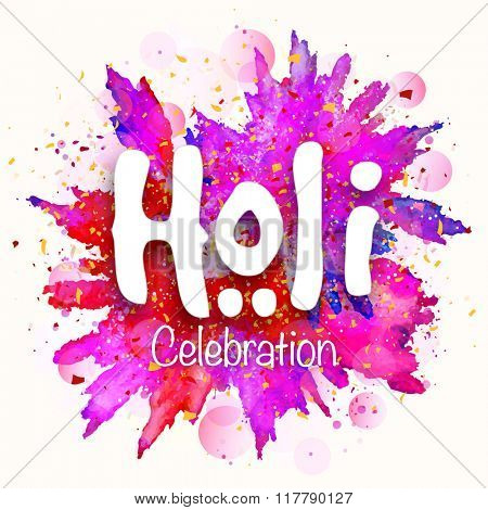Stylish white text Holi on colourful abstract background for Indian Festival of Colours celebration.