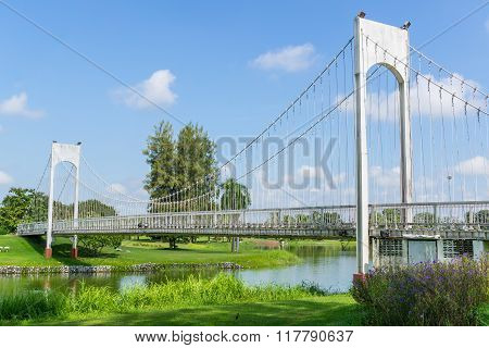 White Hanging Bridge Of Nong Prajak Park, Udonthani, Thailand