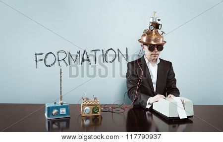 Formation concept with vintage businessman and calculator