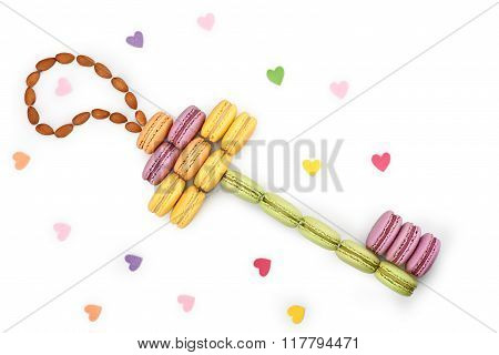 Macarons, key shape. Love, colorful hearts. Isolated