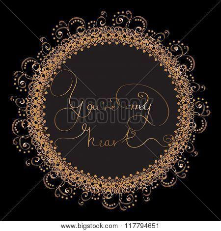 Circle card with golden lettering