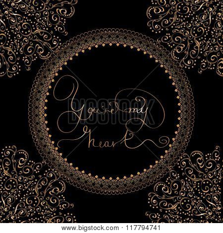 Card or seamless pattern with golden lettering