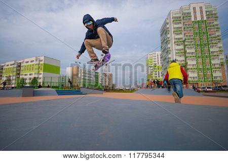 Skater fly in skatepark