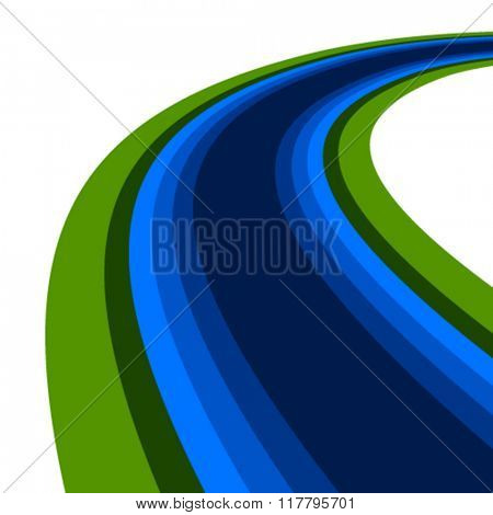 vector curved river watercourse waterway