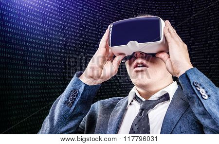 Businessman using Virtual Reality VR glasses
