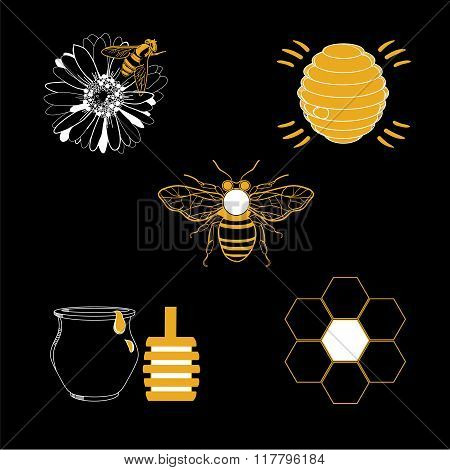 Honey icons set with beehive wax cell flying bee isolated