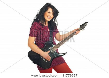 Smiling Woman With Guitar