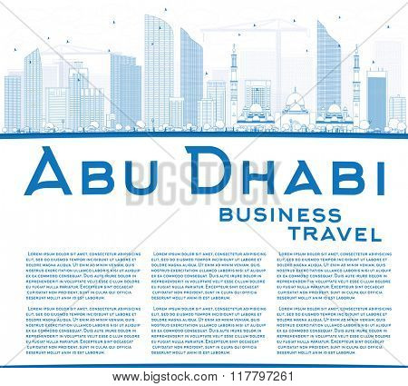 Outline Abu Dhabi City Skyline with Blue Buildings and Copy Space. Vector Illustration. Business Travel and Tourism Concept with Modern Buildings. Image for Presentation Banner Placard and Web Site.