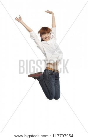 Portrait of a young man mid-air
