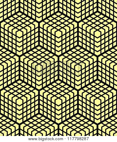 Seamless geometric pattern. 3D illusion. Latticed structure. Vector art.