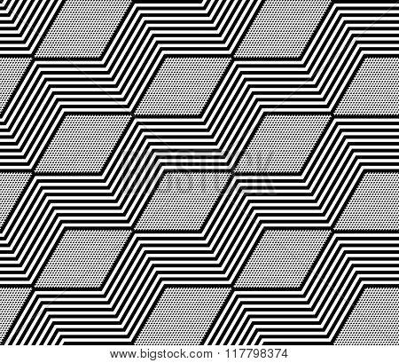 Diamonds and zigzag lines pattern. Seamless geometric texture. Vector art.
