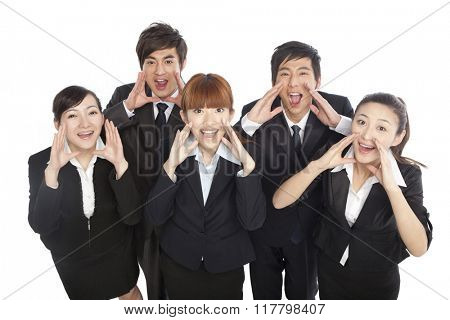 A group of business people shouting