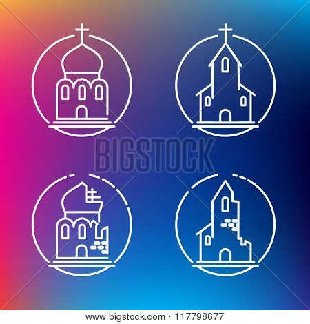 Vector Linear Churches Icons For Print Or Web Design