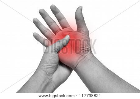Man Massaging His Painful Hand Isolated On White