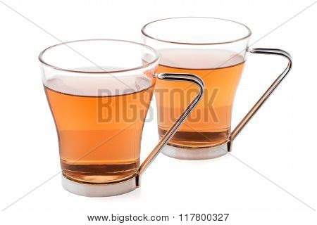 Two Glass Cups Of Black Tea