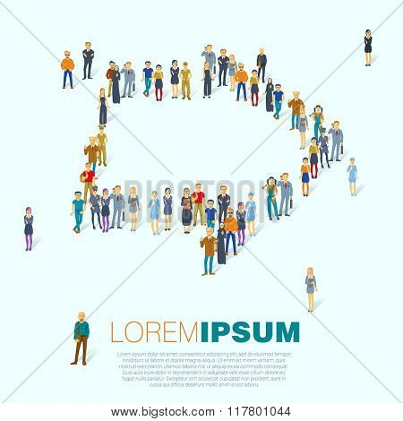 Arrow symbol. A large group of people. Vector template.