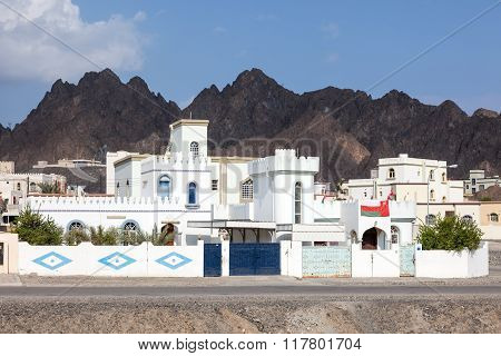 White houses in an omani fishing village. Sultanate of Oman Middle East