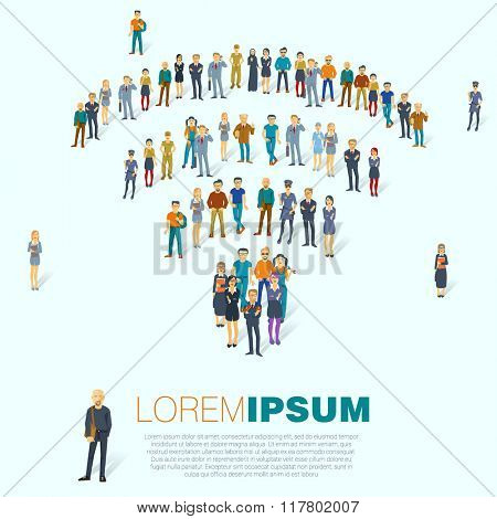 Wireless access point  symbol. A large group of people. Vector template.