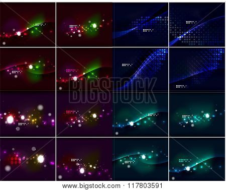 Dark space abstract background set