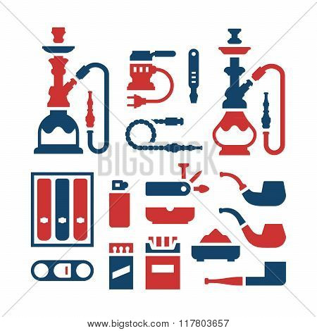 Set color icons of smoking equipment