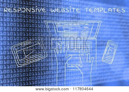 Webpage On User's  Laptop, Phone, Tablet, Responsive Website Templates