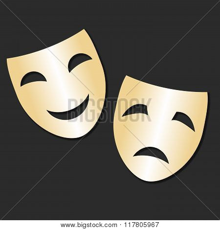 Vector isolated theater gold cheerful and sad mask Theater Day