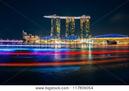 Beautiful laser show at the marina bay waterfront in singapore