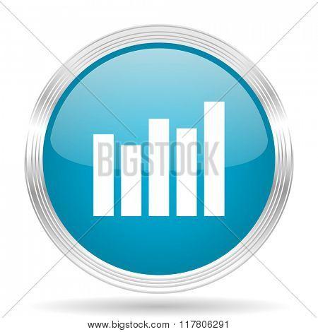 graph blue glossy metallic circle modern web icon on white background