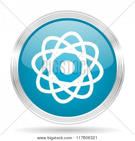 atom blue glossy metallic circle modern web icon on white background