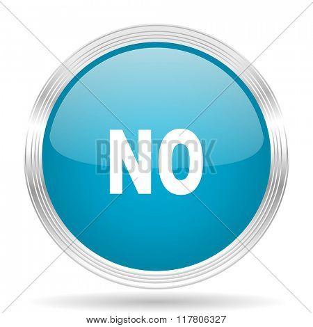 no blue glossy metallic circle modern web icon on white background