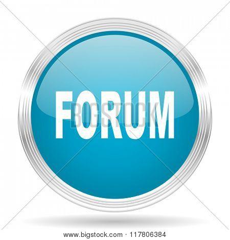 forum blue glossy metallic circle modern web icon on white background