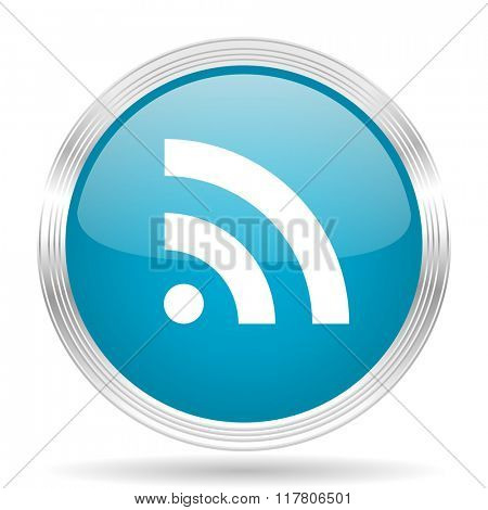 rss blue glossy metallic circle modern web icon on white background