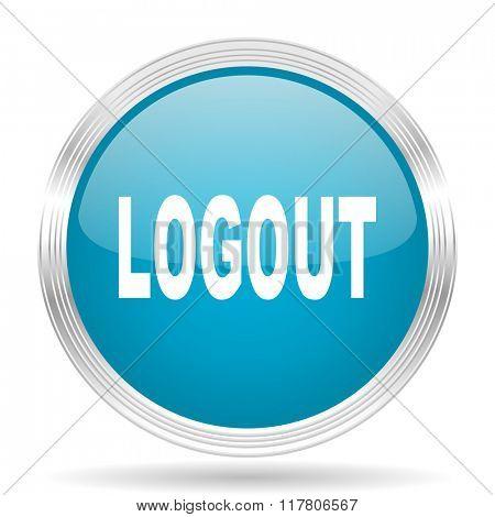 logout blue glossy metallic circle modern web icon on white background