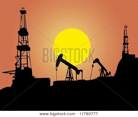 Silhouette of oil workings out