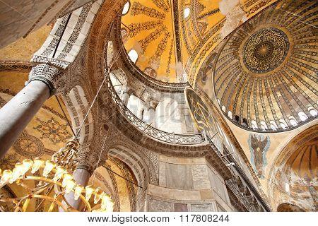 Istanbul Turkey - June 24 2015: Roof paintings at Hagia Sophia