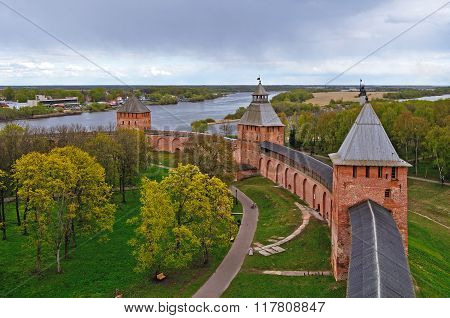Towers Of Novgorod Kremlin Fortress In Veliky Novgorod, Russia - Panoramic Colorful Birds Eye View