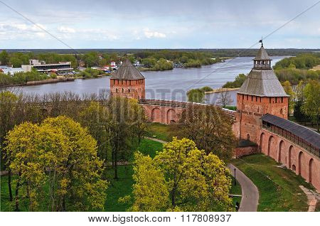 Novgorod Kremlin Fortress In Veliky Novgorod, Russia - Panoramic View From Height