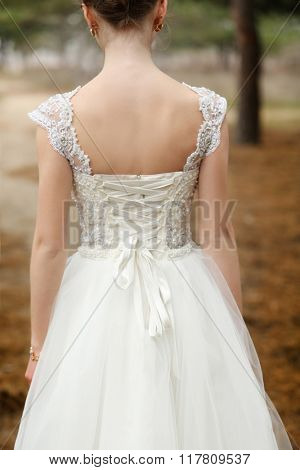 Beautiful bride standing back on a forest background