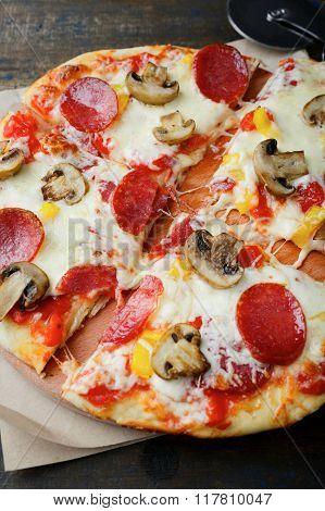Pepperoni Pizza. Tradional Italian Food