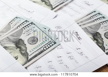 Distribution of money, financial planning, dollars in envelopes, closeup