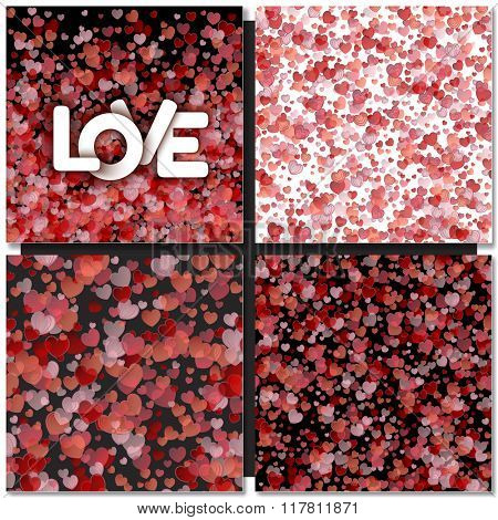 Set of Hearts seamless backgrounds. Valentines day, wedding card