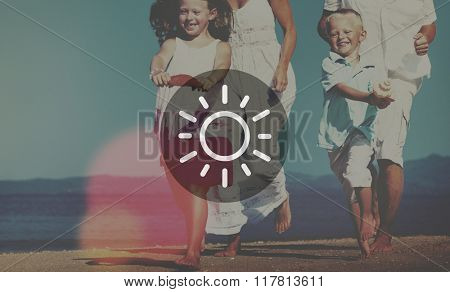 Family Running Playful Vacation Beach Bright Concept