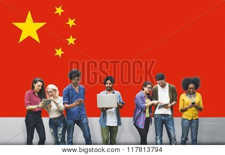 China National Flag Studying Diversity Students Concept