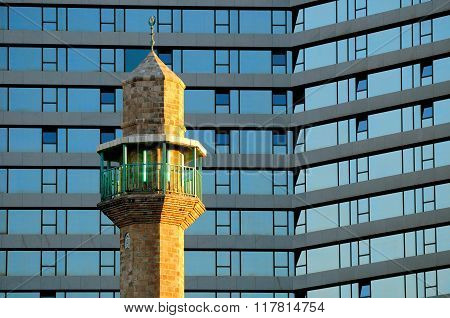 Minaret and hotel.