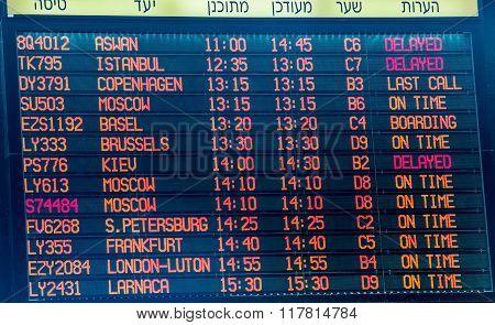 Flight Information Board In Ben Gurion International Airport .  Terminal 3