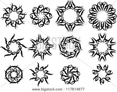 Tribal Tattoo Sun, Flame Tribal Design Raster Illustration