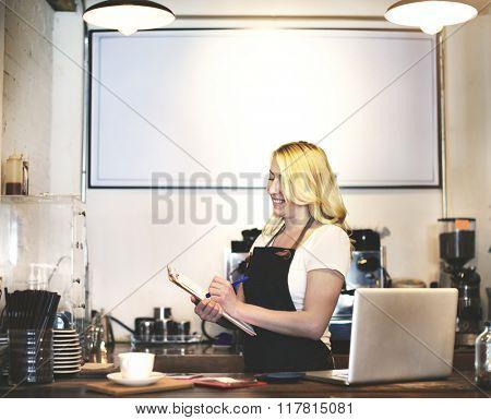 Barista Cafe Cafeteria Coffee Preparing Restaurant Concept