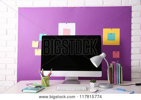 Workplace with modern computer, close up